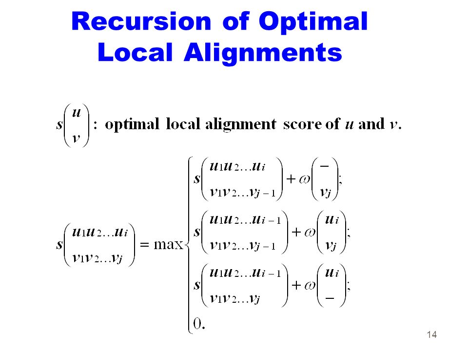 14 Recursion of Optimal Local Alignments