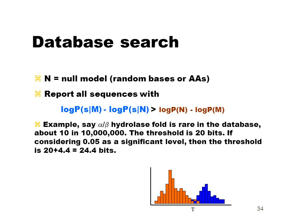 34 Database search z N = null model (random bases or AAs) z Report all sequences with logP(s|M) - logP(s|N) > logP(N) - logP(M)  Example, say  hyd