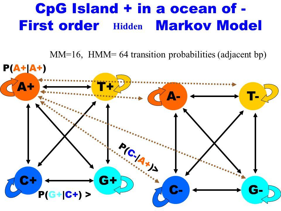 36 C+ A+ G+ T+ P(G+|C+) > P(A+|A+) CpG Island + in a ocean of - First order Markov Model MM=16, HMM= 64 transition probabilities (adjacent bp) C- A- G