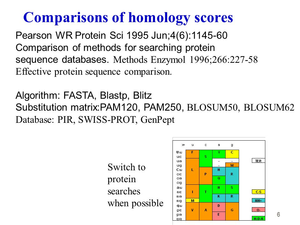 6 Pearson WR Protein Sci 1995 Jun;4(6):1145-60 Comparison of methods for searching protein sequence databases.