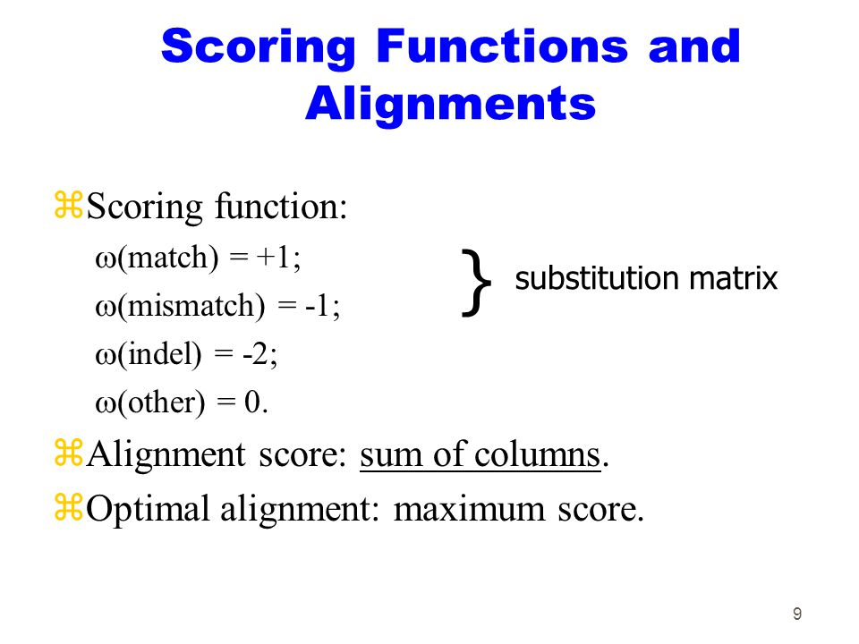 9 Scoring Functions and Alignments zScoring function:  (match) = +1;  (mismatch) = -1;  (indel) = -2;  (other) = 0.