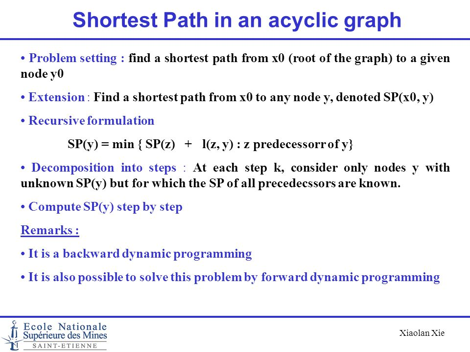 Xiaolan Xie Shortest Path in an acyclic graph Problem setting : find a shortest path from x0 (root of the graph) to a given node y0 Extension : Find a