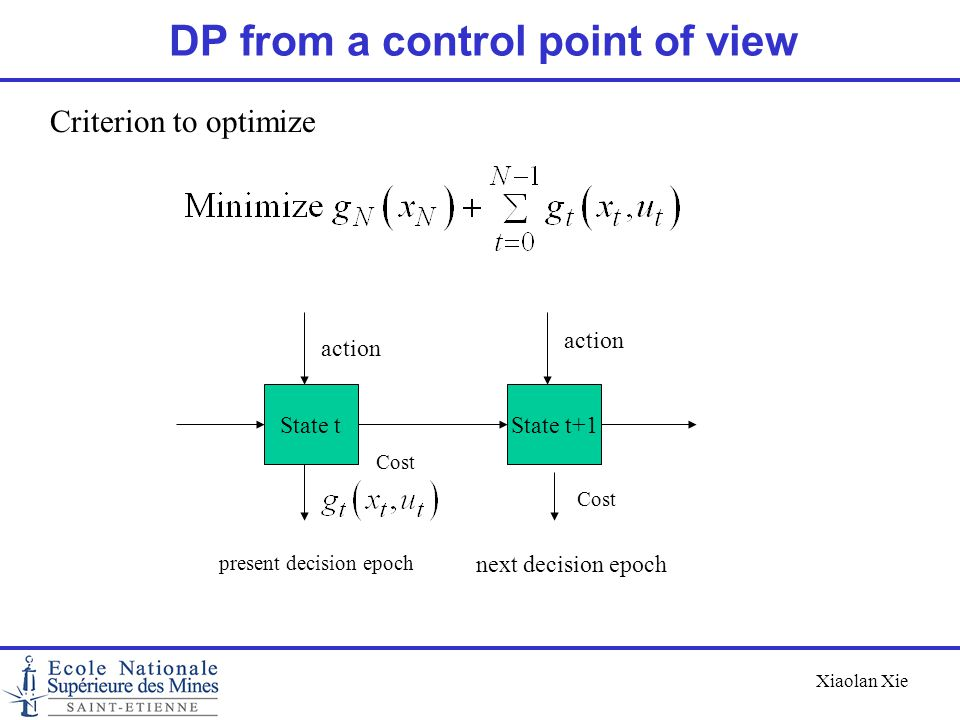 Xiaolan Xie DP from a control point of view State tState t+1 action Cost present decision epoch next decision epoch Criterion to optimize