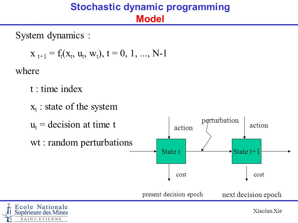 Xiaolan Xie System dynamics : x t+1 = f t (x t, u t, w t ), t = 0, 1,..., N-1 where t : time index x t : state of the system u t = decision at time t