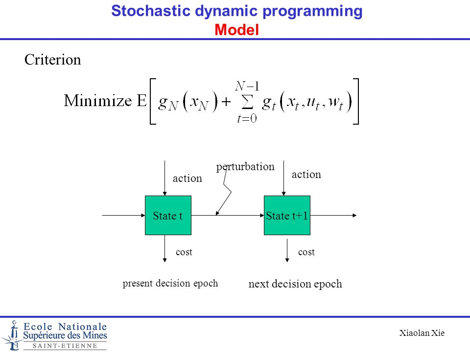 Xiaolan Xie Criterion State tState t+1 action cost present decision epoch next decision epoch perturbation Stochastic dynamic programming Model