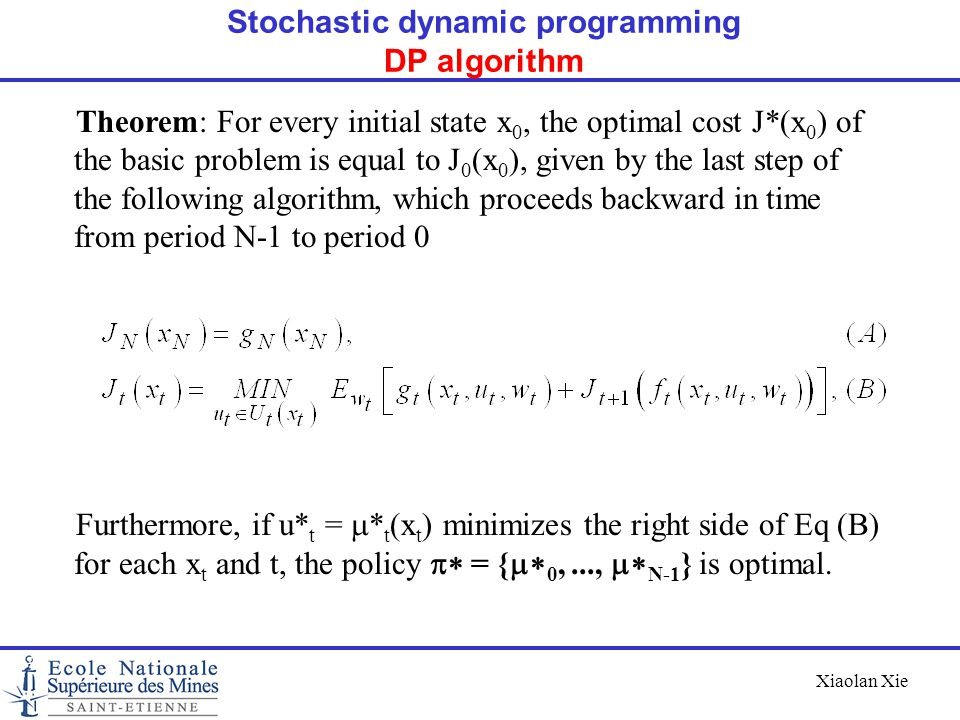 Xiaolan Xie Theorem: For every initial state x 0, the optimal cost J*(x 0 ) of the basic problem is equal to J 0 (x 0 ), given by the last step of the