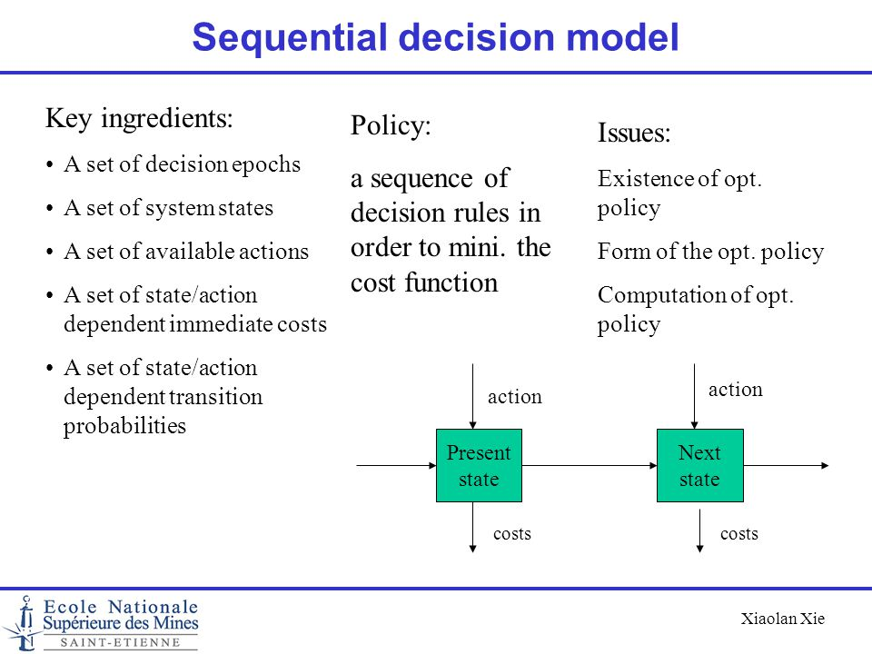 Xiaolan Xie Sequential decision model Present state Next state action costs Key ingredients: A set of decision epochs A set of system states A set of