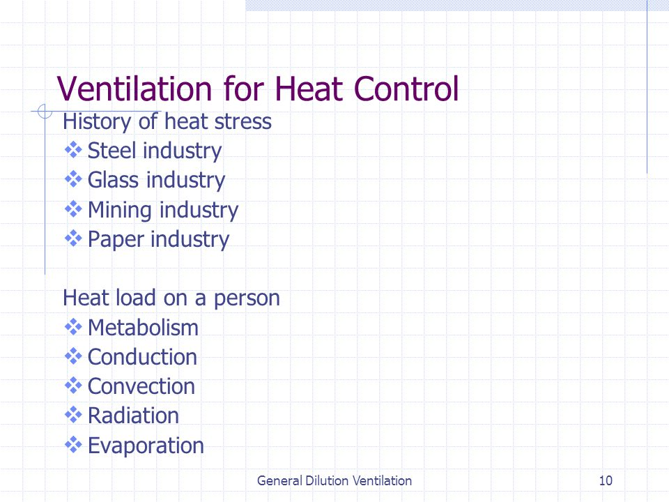 General Dilution Ventilation10 Ventilation for Heat Control History of heat stress  Steel industry  Glass industry  Mining industry  Paper industry Heat load on a person  Metabolism  Conduction  Convection  Radiation  Evaporation