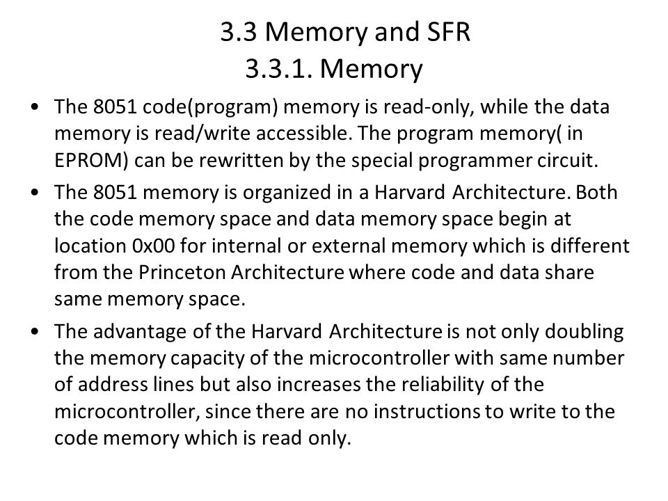 3.3 Memory and SFR 3.3.1.