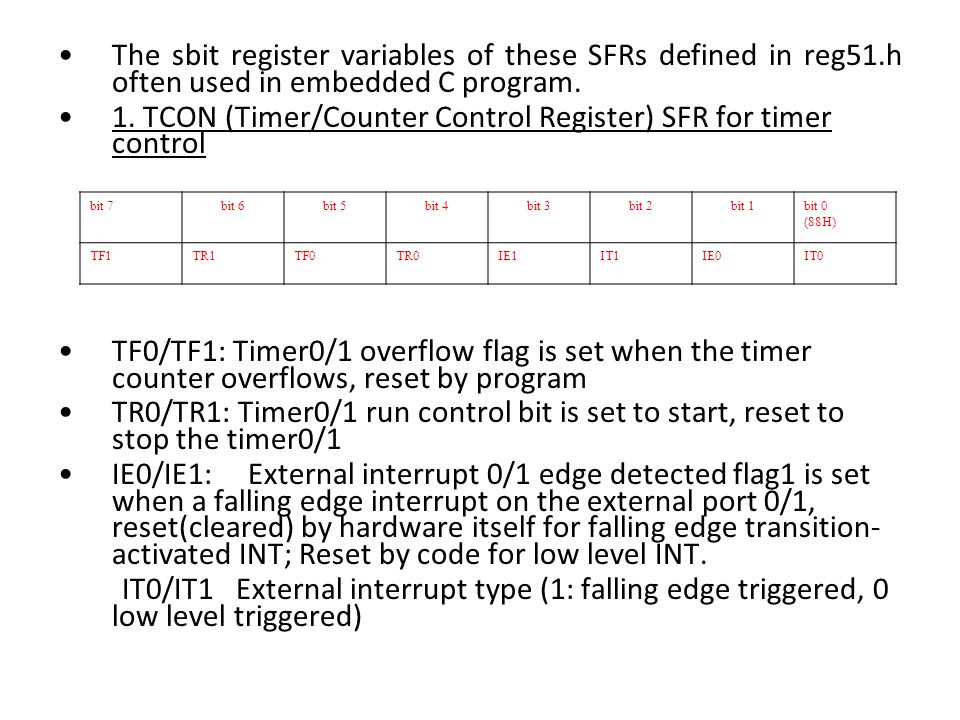 The sbit register variables of these SFRs defined in reg51.h often used in embedded C program.