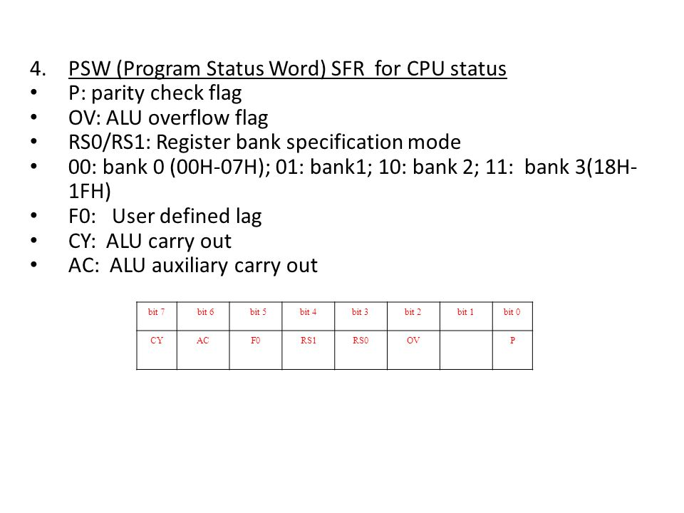 4.PSW (Program Status Word) SFR for CPU status P: parity check flag OV: ALU overflow flag RS0/RS1: Register bank specification mode 00: bank 0 (00H-07H); 01: bank1; 10: bank 2; 11: bank 3(18H- 1FH) F0: User defined lag CY: ALU carry out AC: ALU auxiliary carry out bit 7 bit 6 bit 5bit 4bit 3bit 2bit 1bit 0 CYACF0RS1RS0OVP