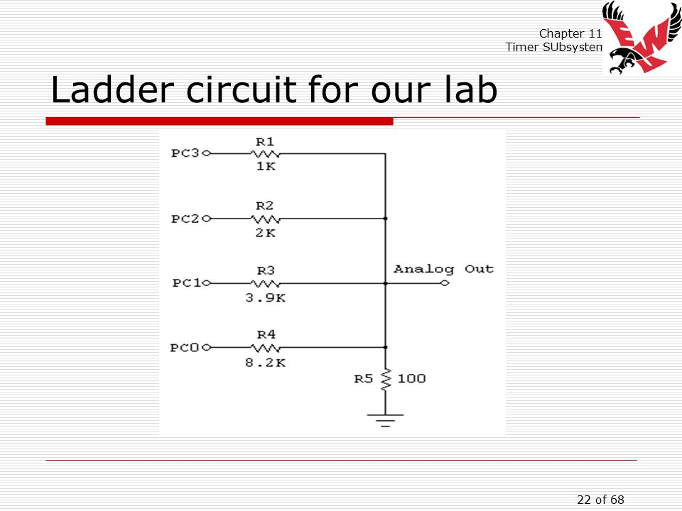 Chapter 11: Timer SUbsystem 22 of 68 Ladder circuit for our lab