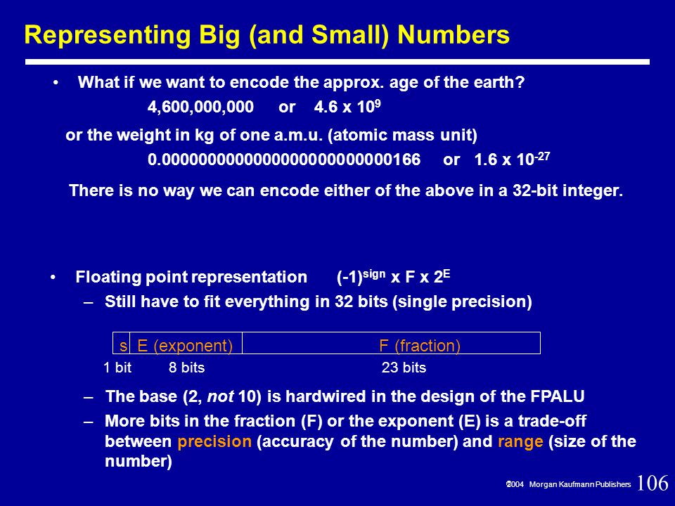 106  2004 Morgan Kaufmann Publishers Representing Big (and Small) Numbers What if we want to encode the approx.