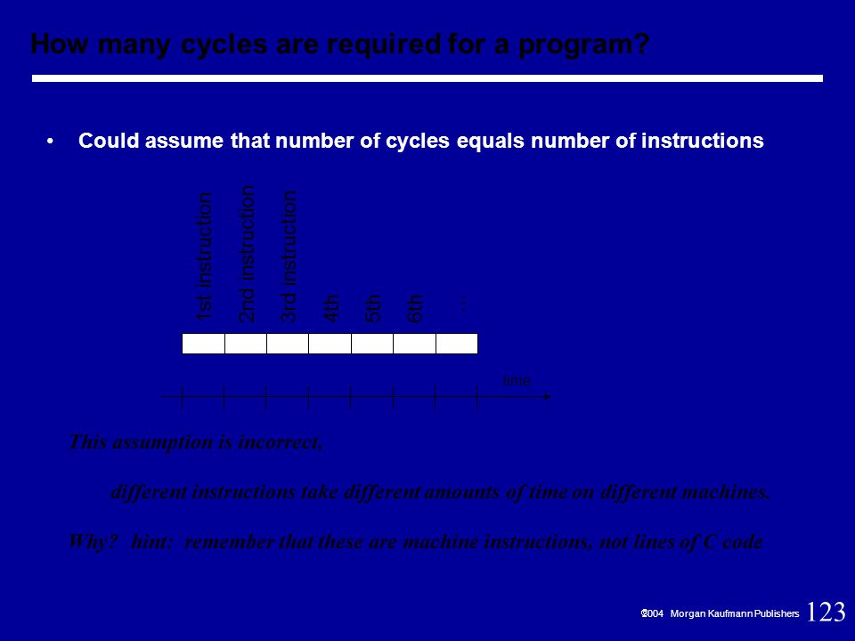 123  2004 Morgan Kaufmann Publishers Could assume that number of cycles equals number of instructions This assumption is incorrect, different instructions take different amounts of time on different machines.