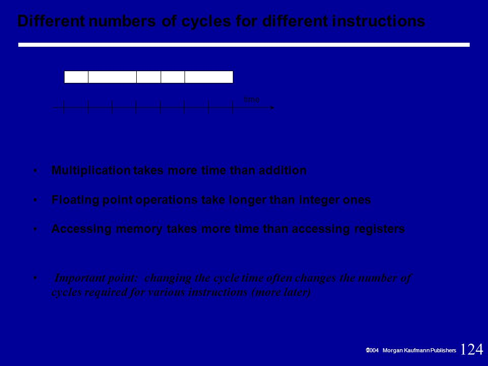 124  2004 Morgan Kaufmann Publishers Multiplication takes more time than addition Floating point operations take longer than integer ones Accessing memory takes more time than accessing registers Important point: changing the cycle time often changes the number of cycles required for various instructions (more later) time Different numbers of cycles for different instructions