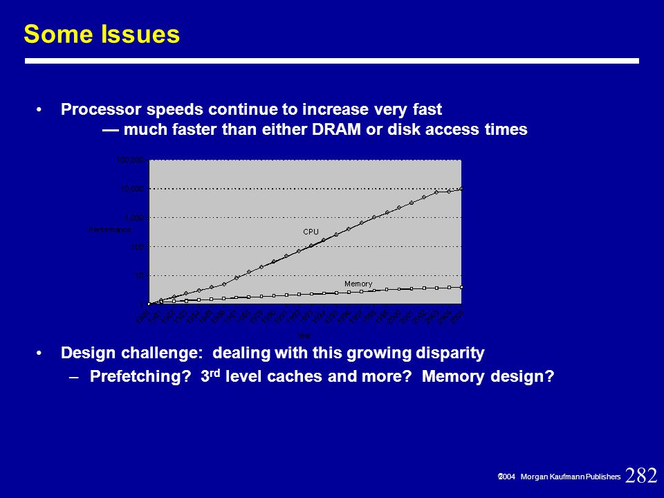 282  2004 Morgan Kaufmann Publishers Processor speeds continue to increase very fast — much faster than either DRAM or disk access times Design challenge: dealing with this growing disparity –Prefetching.