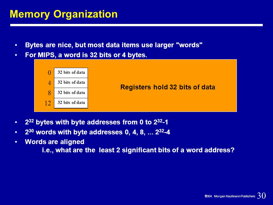 30  2004 Morgan Kaufmann Publishers Memory Organization Bytes are nice, but most data items use larger words For MIPS, a word is 32 bits or 4 bytes.