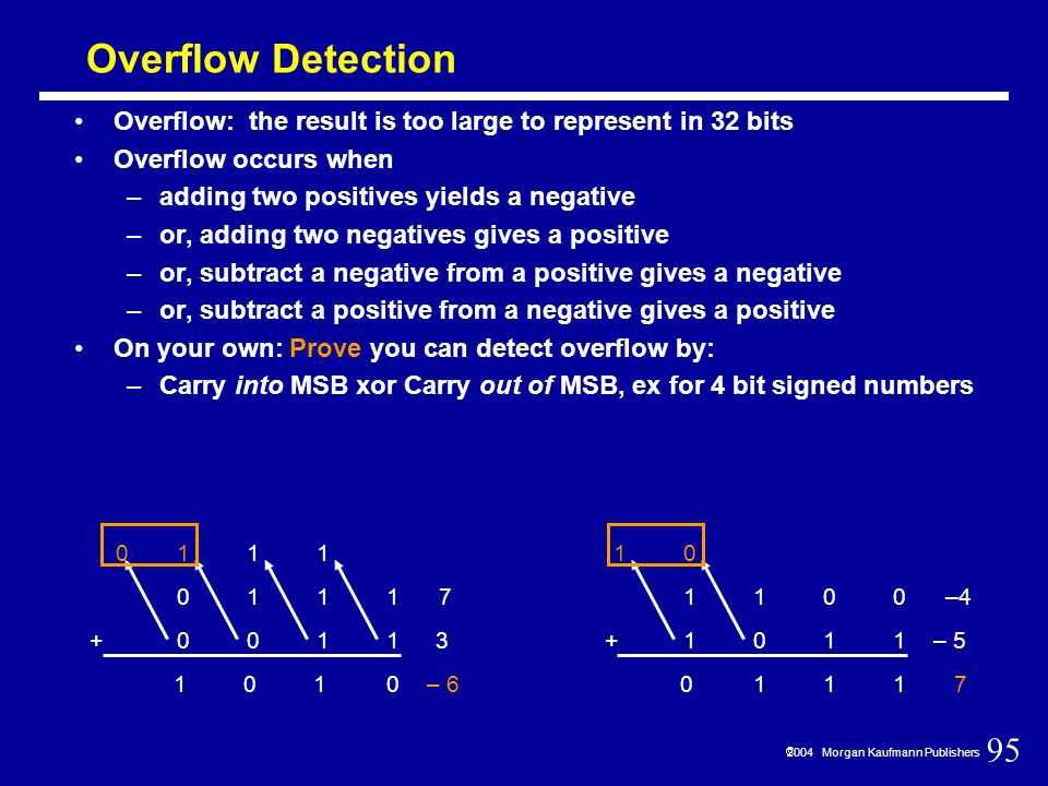 95  2004 Morgan Kaufmann Publishers Overflow Detection Overflow: the result is too large to represent in 32 bits Overflow occurs when –adding two positives yields a negative –or, adding two negatives gives a positive –or, subtract a negative from a positive gives a negative –or, subtract a positive from a negative gives a positive On your own: Prove you can detect overflow by: –Carry into MSB xor Carry out of MSB, ex for 4 bit signed numbers 1 1 11 0 1 0 1 1 0 0111 0011+ 7 3 0 1 – 6 1100 1011+ –4 – 5 7 1 0