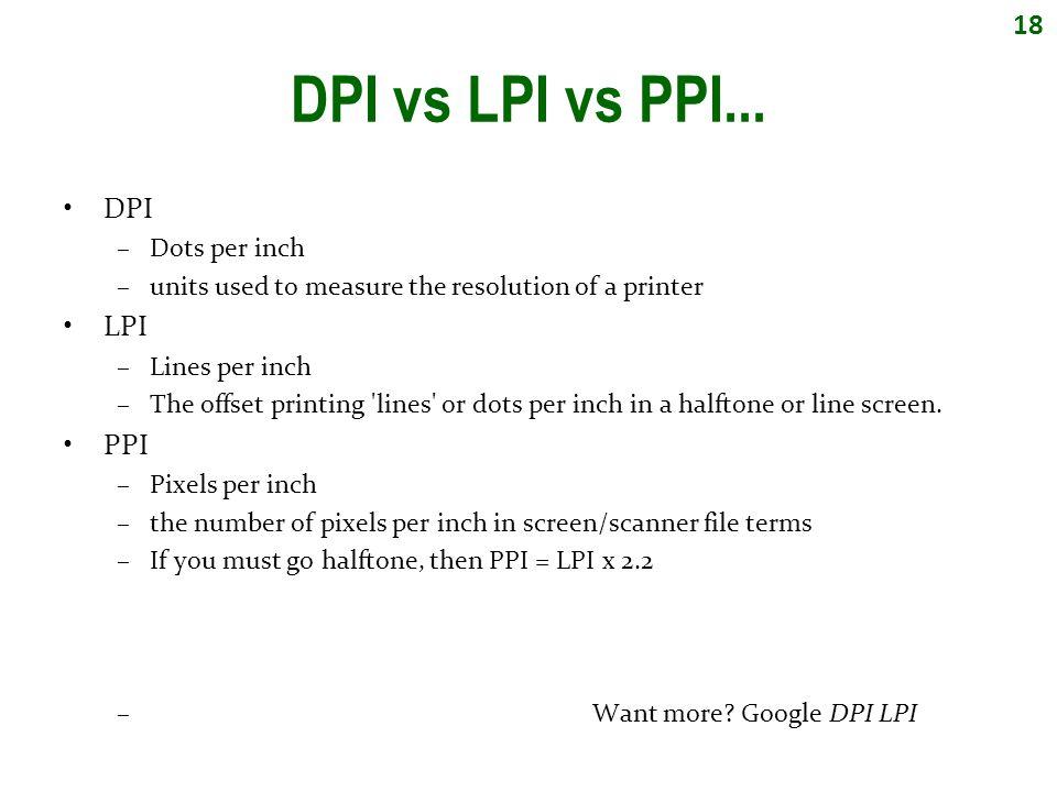 18 DPI vs LPI vs PPI...