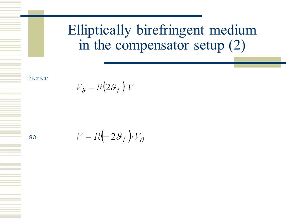Elliptically birefringent medium in the compensator setup (2) hence so