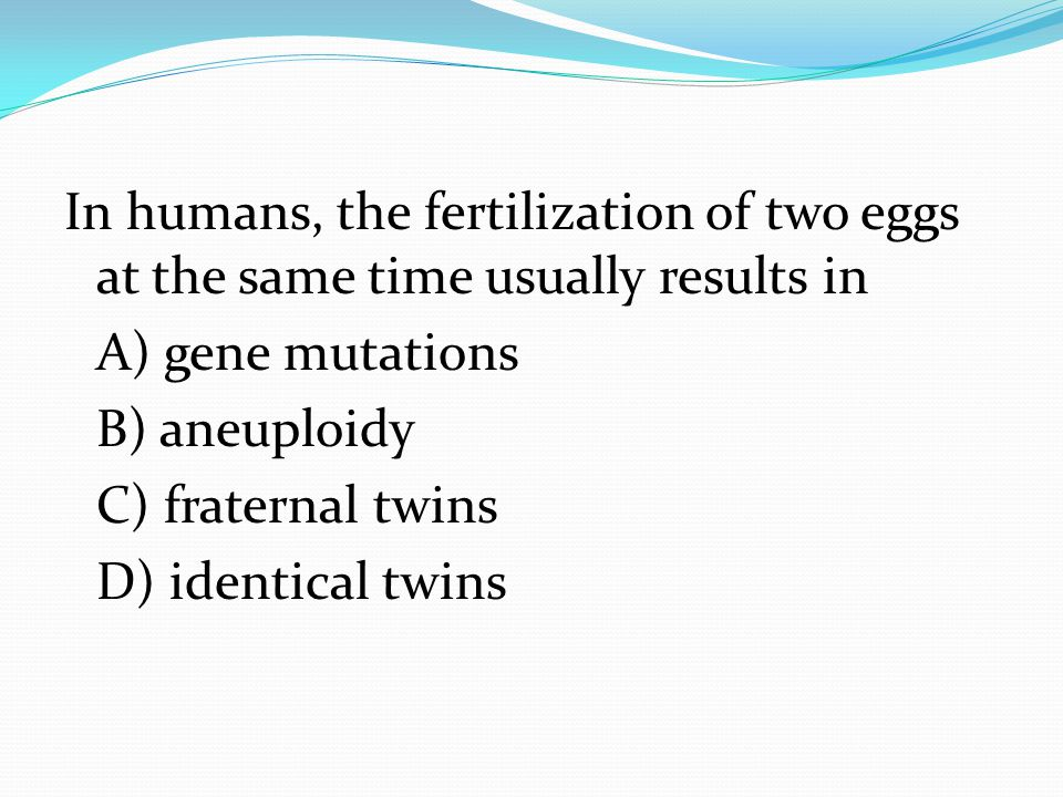 In humans, the fertilization of two eggs at the same time usually results in A) gene mutations B) aneuploidy C) fraternal twins D) identical twins