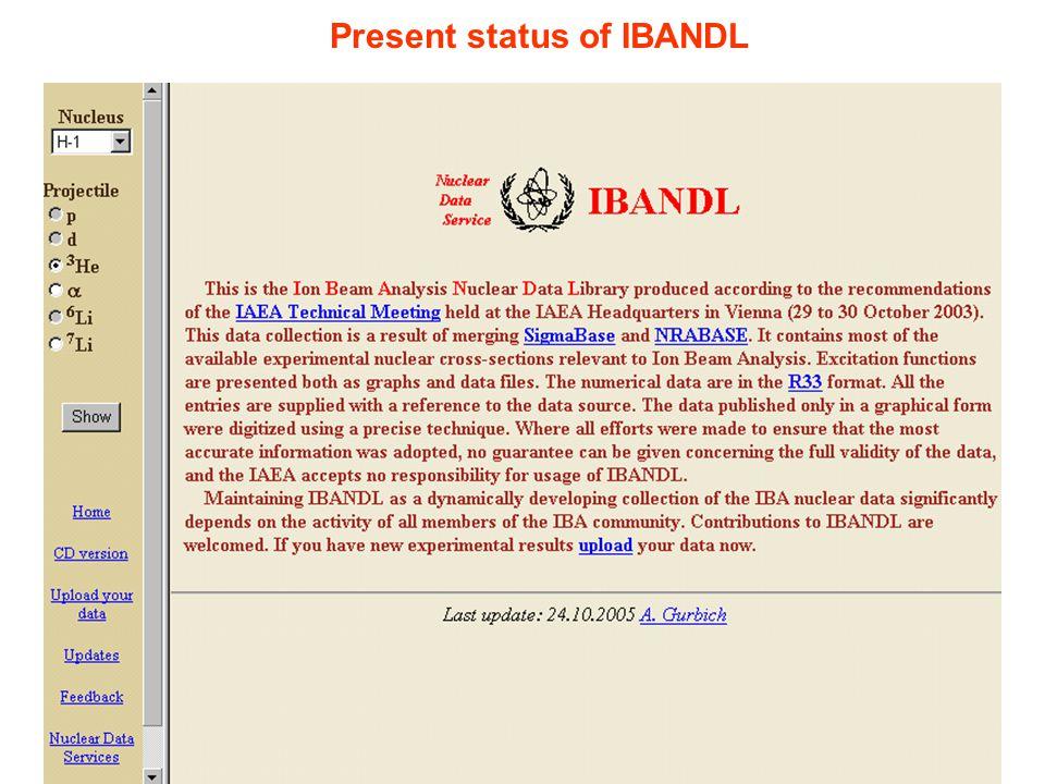 Present status of IBANDL