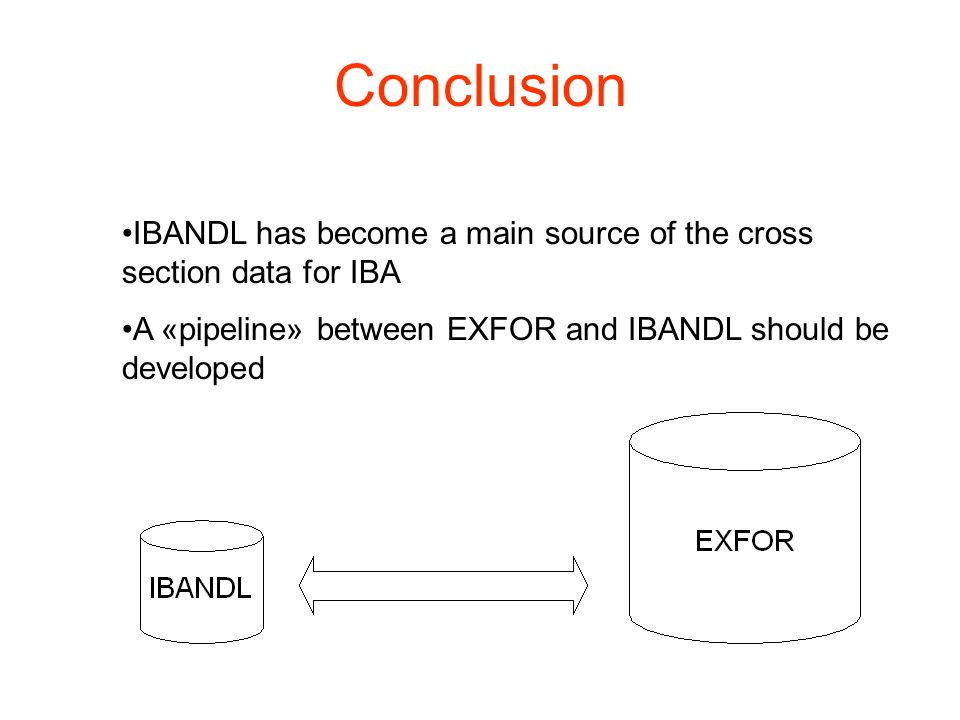 Conclusion IBANDL has become a main source of the cross section data for IBA A «pipeline» between EXFOR and IBANDL should be developed