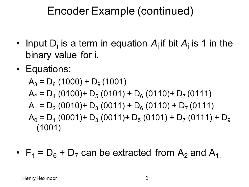 Henry Hexmoor21 Encoder Example (continued) Input D i is a term in equation A j if bit A j is 1 in the binary value for i. Equations: A 3 = D 8 (1000)
