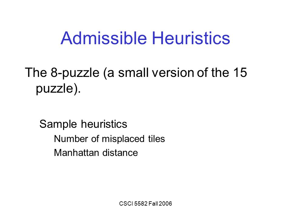 CSCI 5582 Fall 2006 Admissible Heuristics The 8-puzzle (a small version of the 15 puzzle). Sample heuristics Number of misplaced tiles Manhattan dista