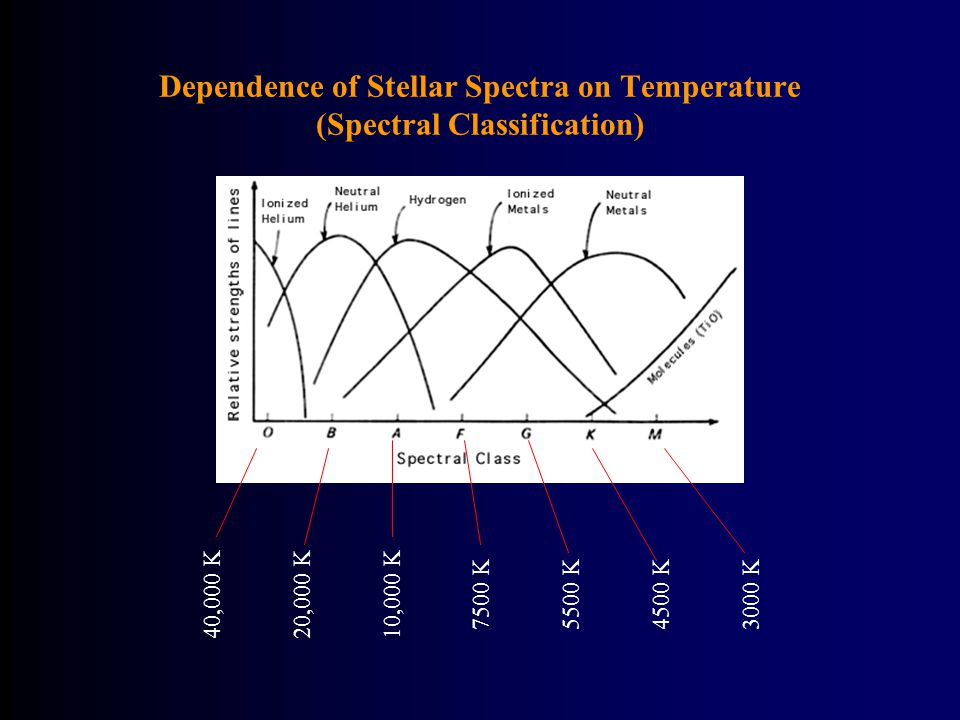 Dependence of Stellar Spectra on Temperature (Spectral Classification) 40,000 K20,000 K10,000 K 7500 K5500 K4500 K3000 K