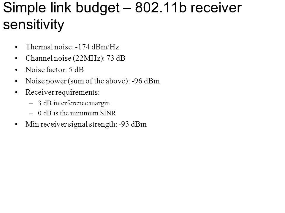 Simple link budget – 802.11b receiver sensitivity Thermal noise: -174 dBm/Hz Channel noise (22MHz): 73 dB Noise factor: 5 dB Noise power (sum of the a