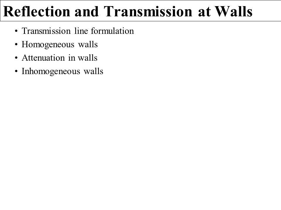 Reflection and Transmission at Walls Transmission line formulation Homogeneous walls Attenuation in walls Inhomogeneous walls