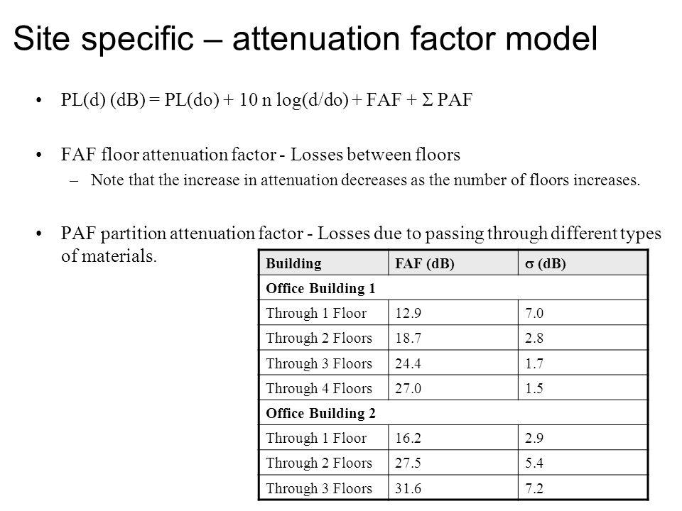 Site specific – attenuation factor model PL(d) (dB) = PL(do) + 10 n log(d/do) + FAF +  PAF FAF floor attenuation factor - Losses between floors –Note