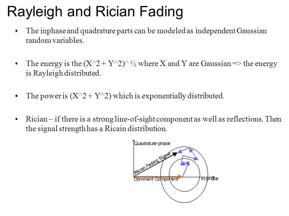 Rayleigh and Rician Fading The inphase and quadrature parts can be modeled as independent Gaussian random variables. The energy is the (X^2 + Y^2)^ ½