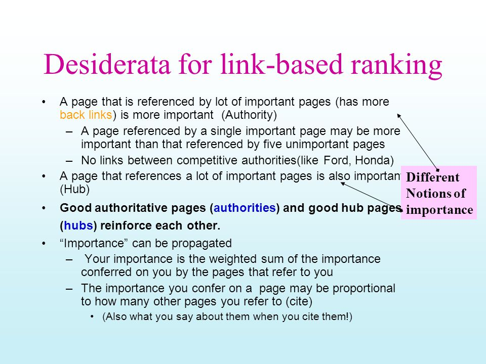 Desiderata for link-based ranking A page that is referenced by lot of important pages (has more back links) is more important (Authority) –A page refe