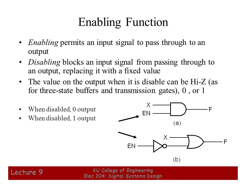12 KU College of Engineering Elec 204: Digital Systems Design Lecture 9 Enabling Function Enabling permits an input signal to pass through to an output Disabling blocks an input signal from passing through to an output, replacing it with a fixed value The value on the output when it is disable can be Hi-Z (as for three-state buffers and transmission gates), 0, or 1 When disabled, 0 output When disabled, 1 output
