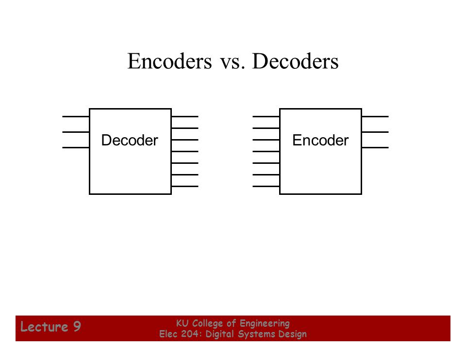 21 KU College of Engineering Elec 204: Digital Systems Design Lecture 9 Encoders vs.