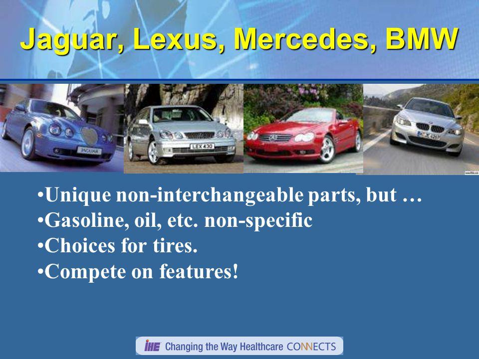 Jaguar, Lexus, Mercedes, BMW Unique non-interchangeable parts, but … Gasoline, oil, etc.
