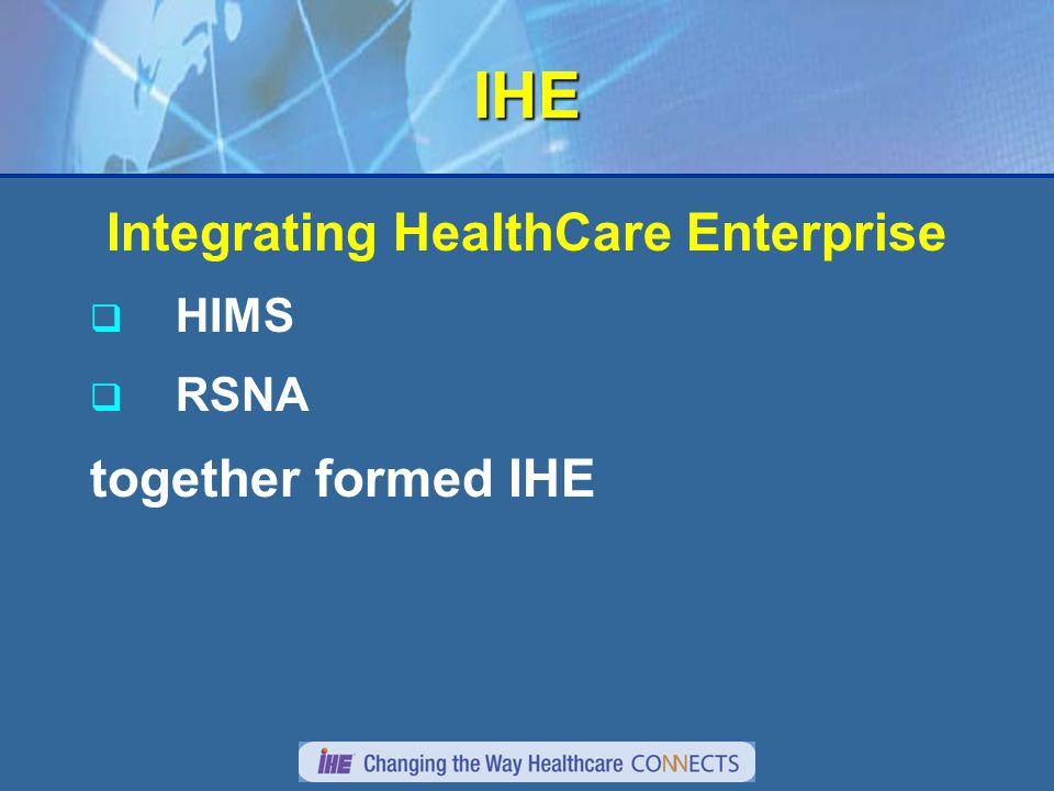 IHE Integrating HealthCare Enterprise  HIMS  RSNA together formed IHE