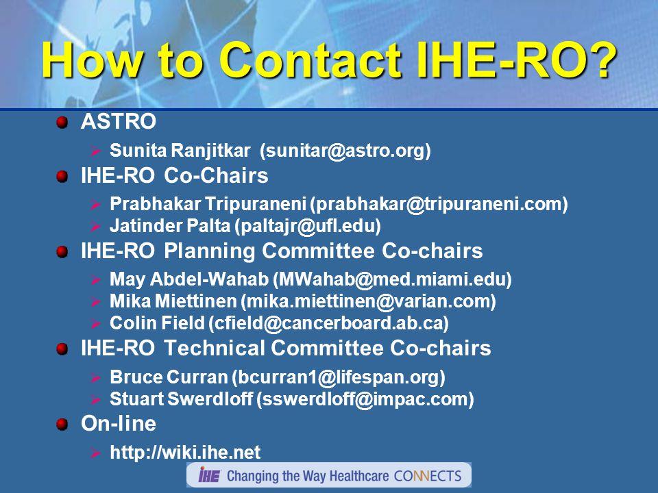 How to Contact IHE-RO.