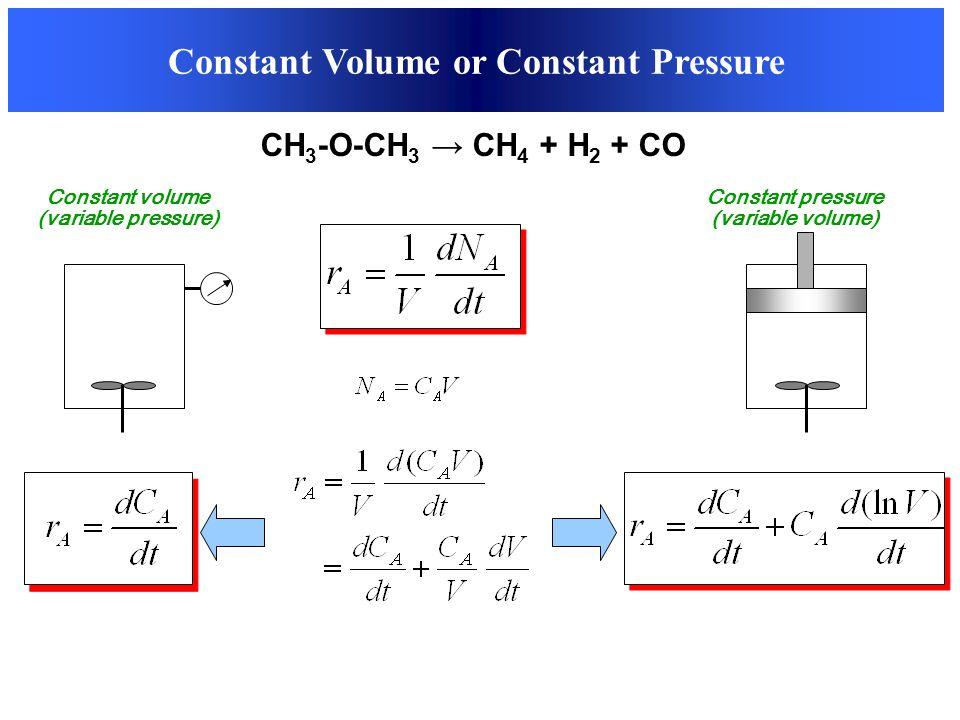 Constant Volume or Constant Pressure CH 3 -O-CH 3 → CH 4 + H 2 + CO Constant volume (variable pressure) Constant pressure (variable volume)