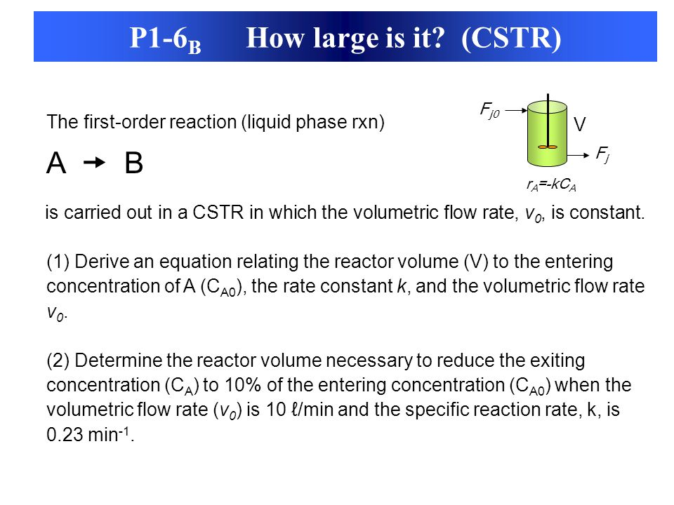The first-order reaction (liquid phase rxn) A  B is carried out in a CSTR in which the volumetric flow rate, v 0, is constant. (1) Derive an equation