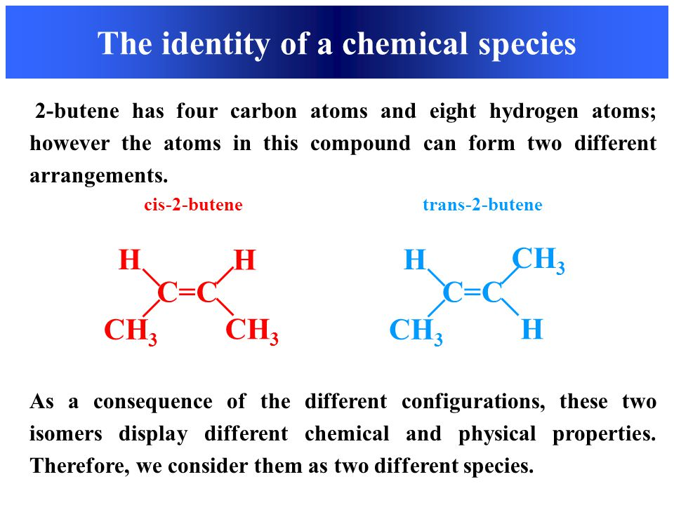 The identity of a chemical species C=C H H CH 3 C=C H CH 3 H 2-butene has four carbon atoms and eight hydrogen atoms; however the atoms in this compou
