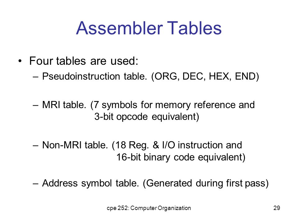 cpe 252: Computer Organization29 Assembler Tables Four tables are used: –Pseudoinstruction table.