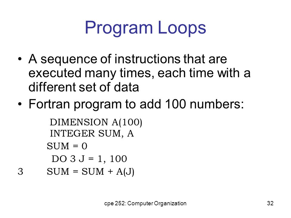 cpe 252: Computer Organization32 Program Loops A sequence of instructions that are executed many times, each time with a different set of data Fortran program to add 100 numbers: DIMENSION A(100) INTEGER SUM, A SUM = 0 DO 3 J = 1, 100 3SUM = SUM + A(J)