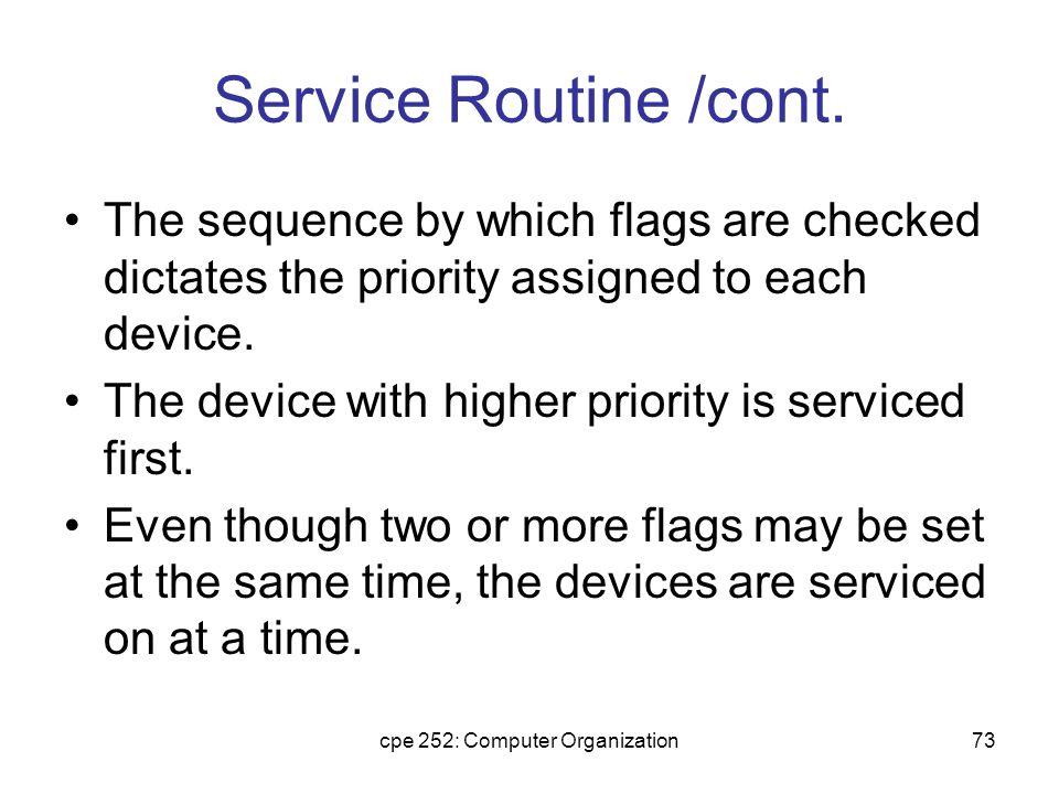 cpe 252: Computer Organization74 Service Routine /cont.