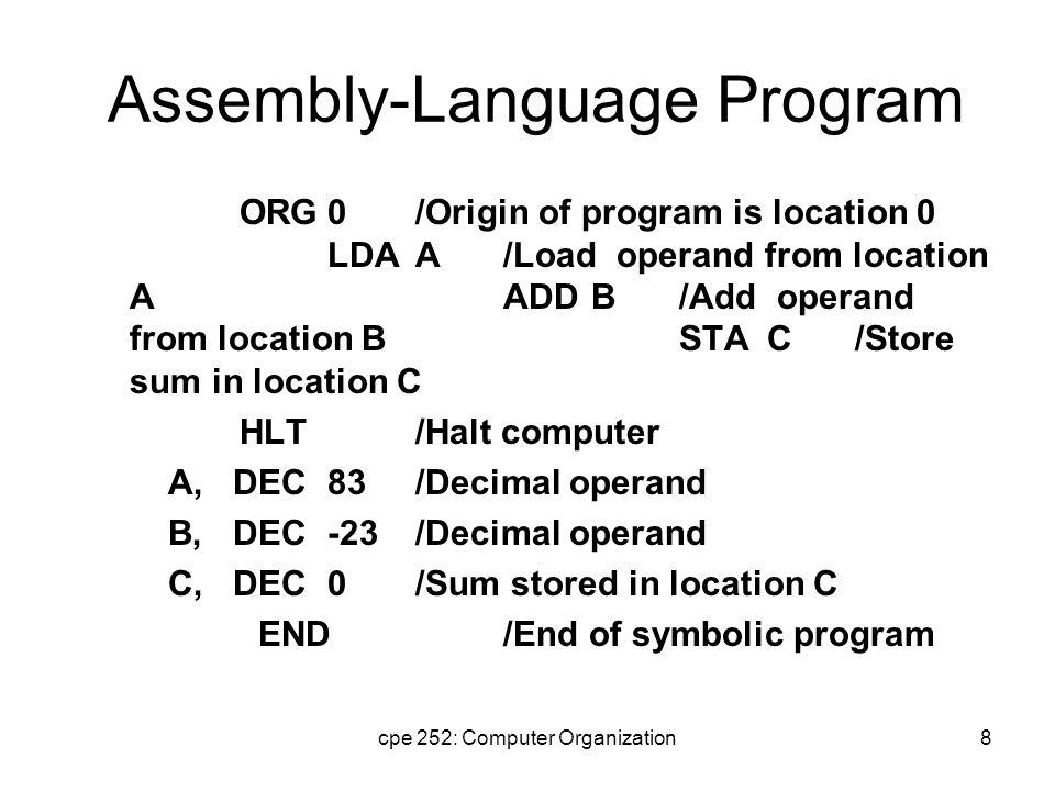 cpe 252: Computer Organization9 Assembly-Language Program A further step is to replace: hexadecimal address  symbolic address, hexadecimal operand  decimal operand.