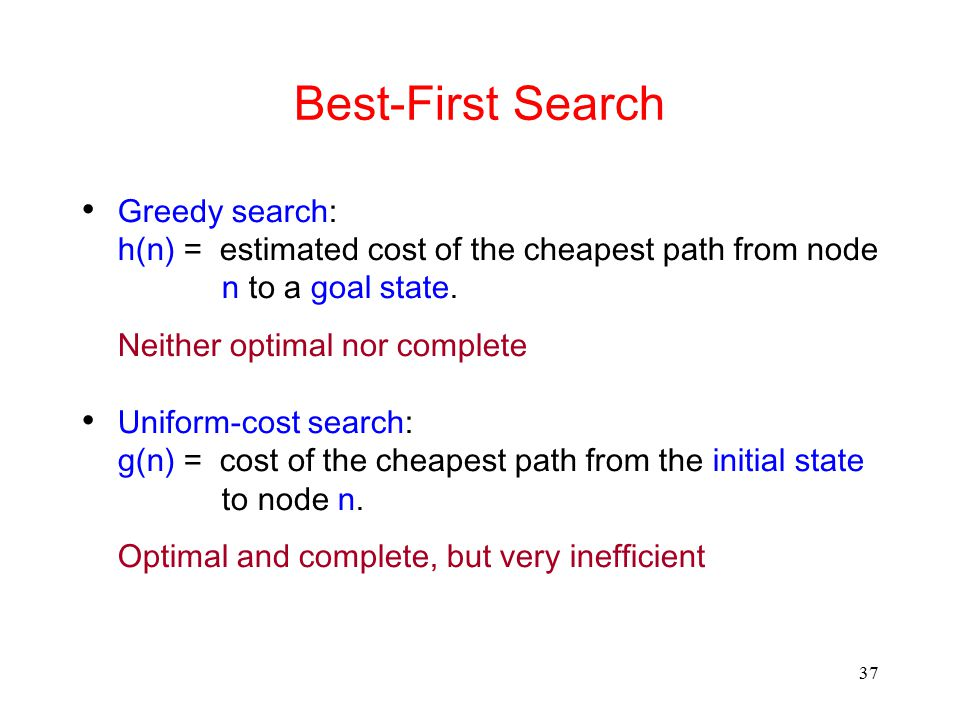 37 Best-First Search Greedy search: h(n) = estimated cost of the cheapest path from node n to a goal state. Neither optimal nor complete Uniform-cost