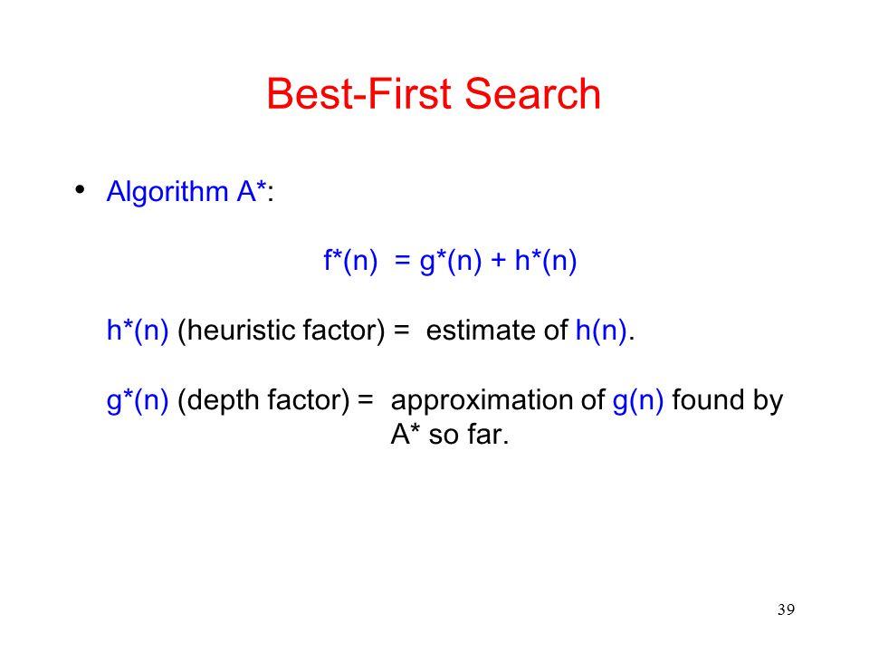 39 Best-First Search Algorithm A*: f*(n) = g*(n) + h*(n) h*(n) (heuristic factor) = estimate of h(n). g*(n) (depth factor) = approximation of g(n) fou