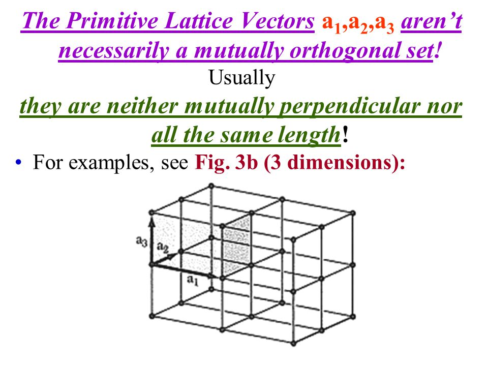 Primitive Unit Cells Note that, by definition, the Primitive Unit Cell must contain ONLY ONE lattice point.